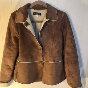 Mudd shearling snap front jacket faux suede